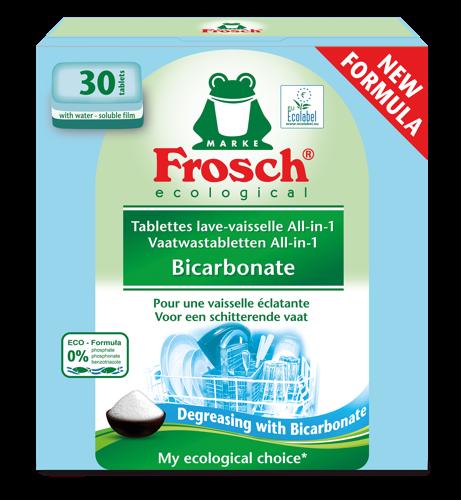 Tablettes lave-vaisselle Frosch All-in-1 au bicarbonate: une nouvelle formule pour une vaisselle naturellement propre