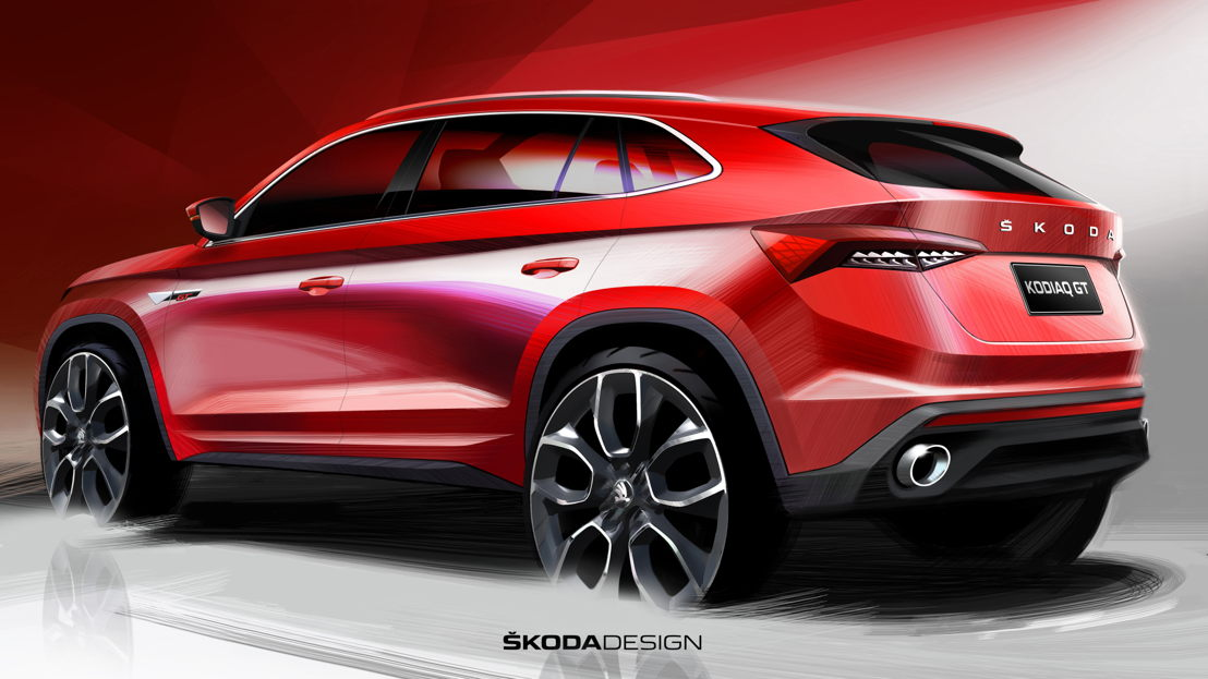 As the design sketch shows, all lines are clearly and<br/>precisely designed, the coupé-like side line gives the new<br/>ŠKODA KODIAQ GT a sporty and dynamic profile.