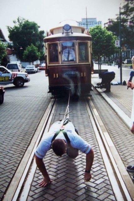 Australian Story<br/>Grant Edwards pulling a tram.
