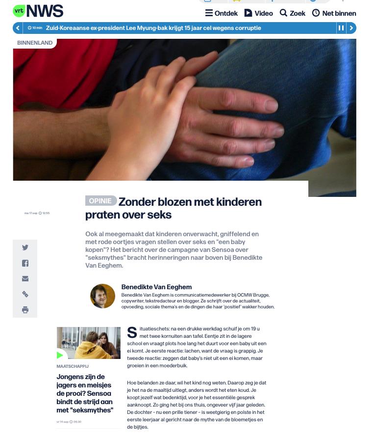 Benedikte Van Eeghem op VRT NWS