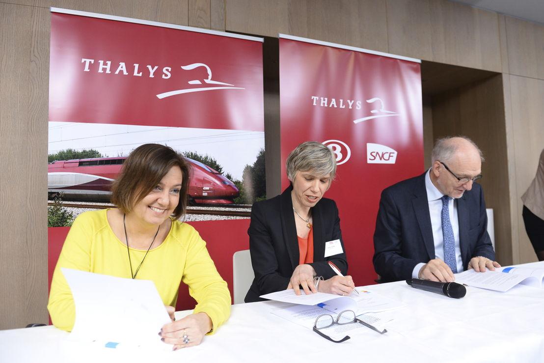 Agnès Ogier, CEO en bestuurslid van Thalys, Jo Cornu, CEO van NMBS en toekomstige voorzitter van de Raad van Bestuur van Thalys en Rachel Picard, Algemeen Directeur van Voyages SNCF en bestuurslid van Thalys.