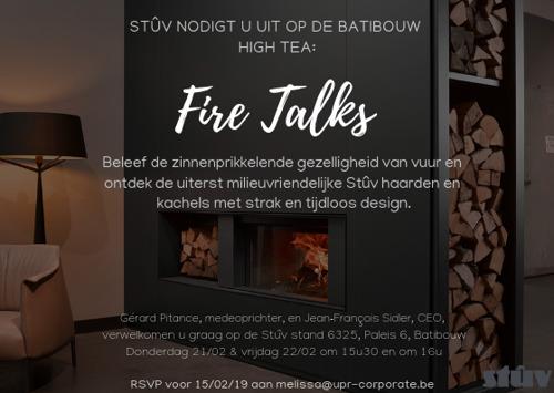 Stûv nodigt je uit voor de Batibouw Fire Talks 2019