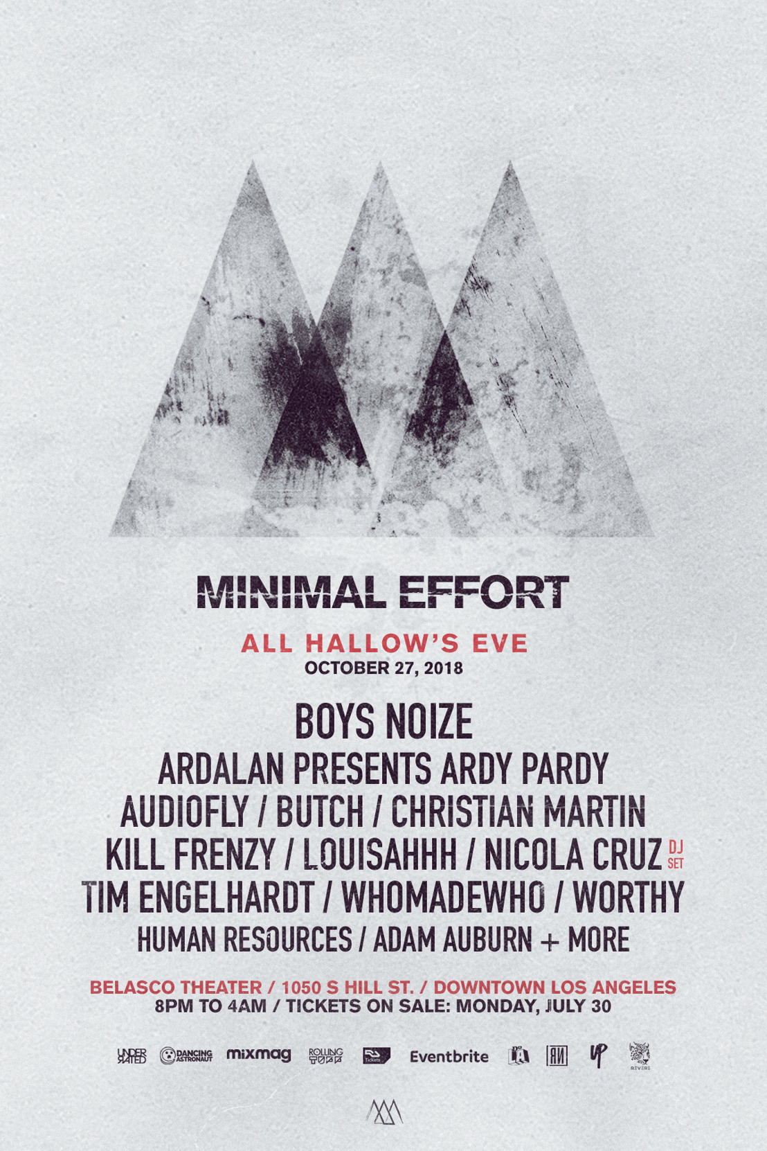 Minimal Effort : All Hallow's Eve Announces Phase 1 Lineup for October 27th Event at Los Angeles' Belasco Theater