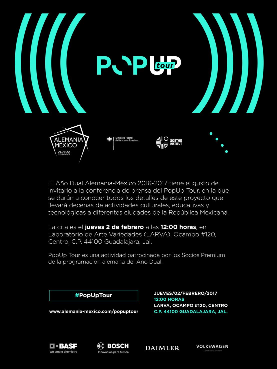 Invitación Conferencia de prensa PopUp Tour Guadalajara
