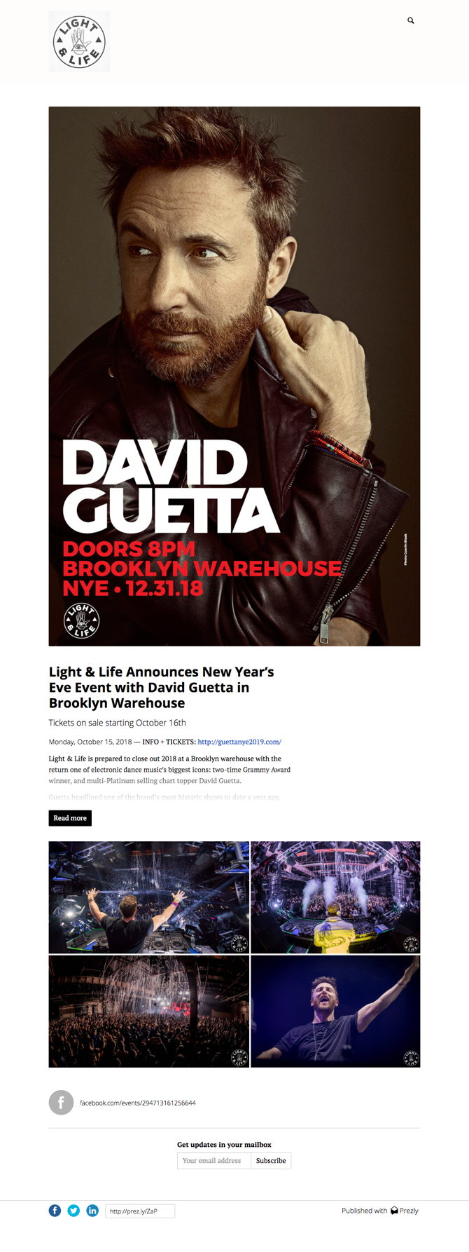 Light & Life Announces New Year's Eve Event with David Guetta in Brooklyn Warehouse