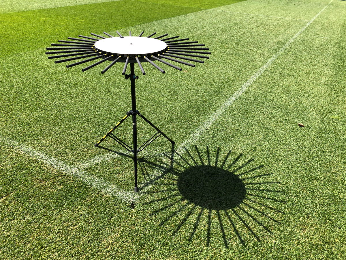 The prototype of an AMBEO Sports Microphone Array for 360° sound will be on display at the Sennheiser and Neumann NAB booth (C1307)