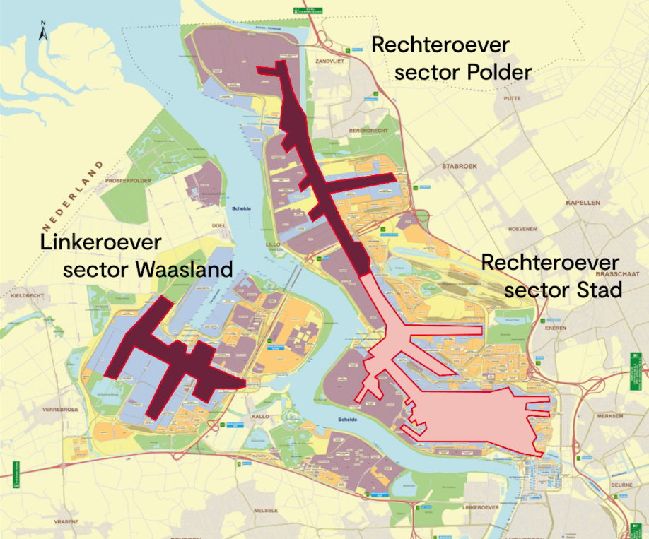 Overview of the new VTS sectors in the port of Antwerp