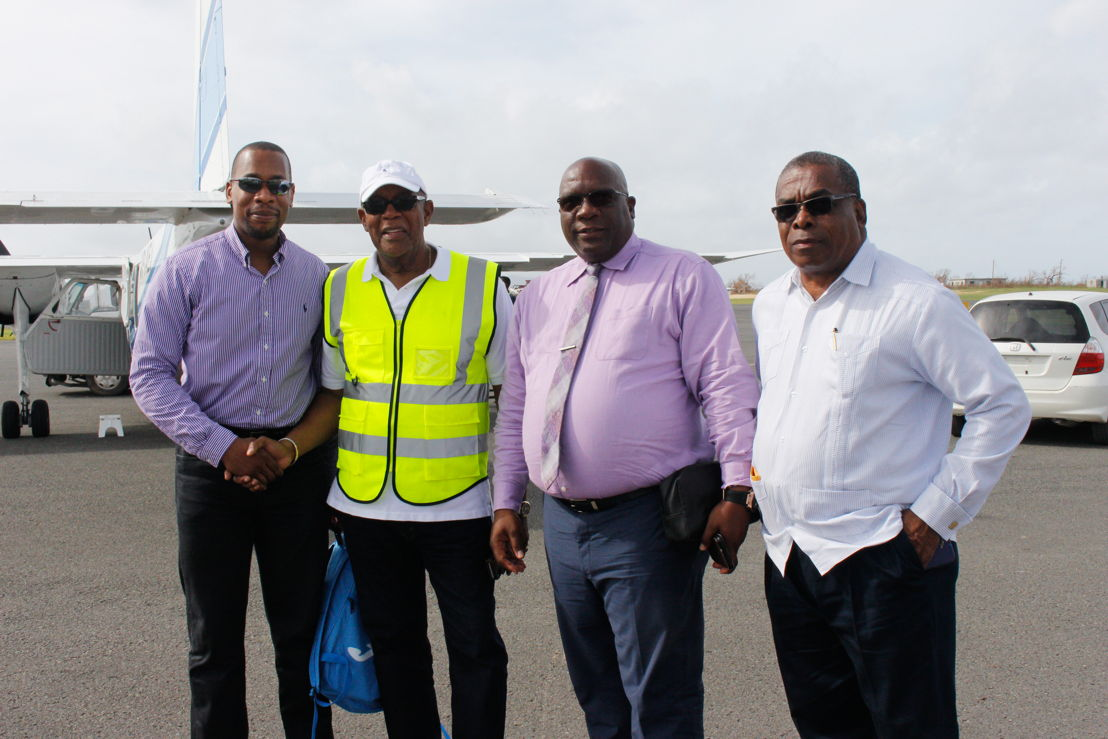 L-R: Governor, ECCB - Timothy N. J. Antoine; Hon Chief Minister of Anguilla and ECCB Monetary Council Member for Anguilla, Victor Banks; ECCB Council Member for St Kitts and Nevis, Hon Prime Minister, Dr Timothy Harris; Hon Minister of Public Infrastructure, St Kitts - Ian Liburd