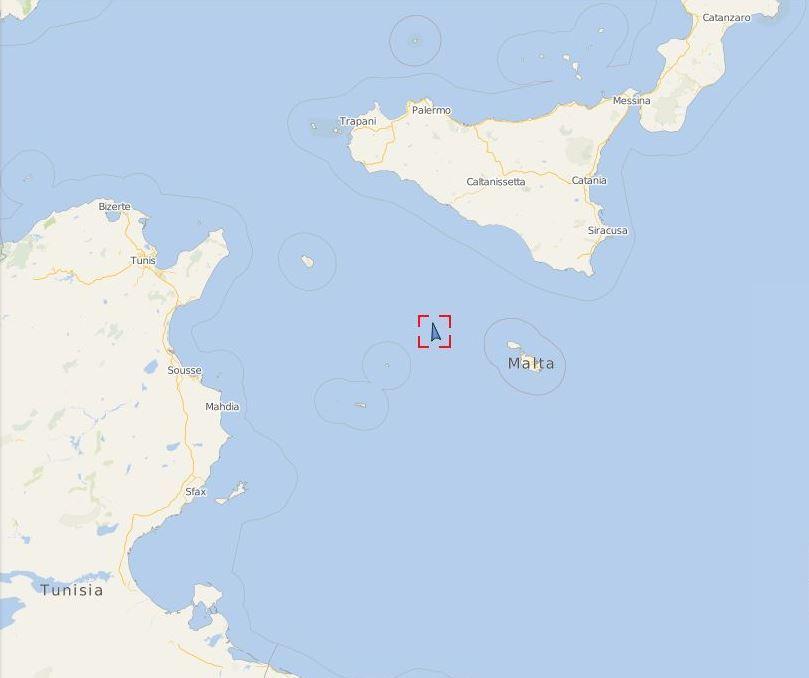 Posición del Ocean Viking a las 16:30 horas del martes 20 de agosto. Fuente: vesselfinder.com.