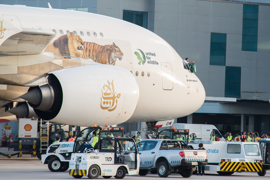 dnata Brazil handling the inaugural Emirates A380 service to Sao Paulo