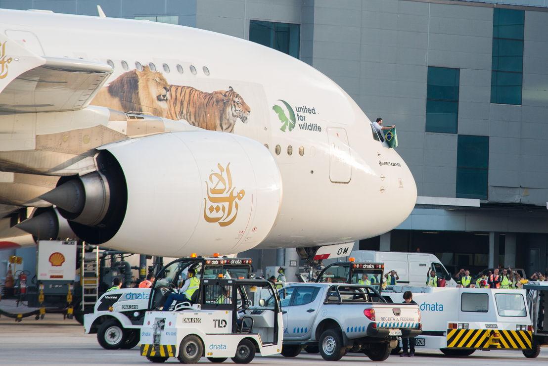 dnata Brazil handling the inaugural Emirates A380 service to Sao Paulo