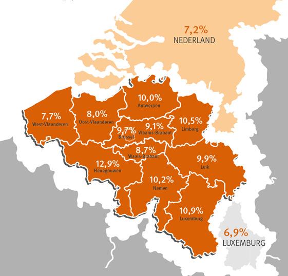 Op de kaart is de winkelleegstand per provincie in % aantal verkooppunten opgenomen (bron: Locatus)