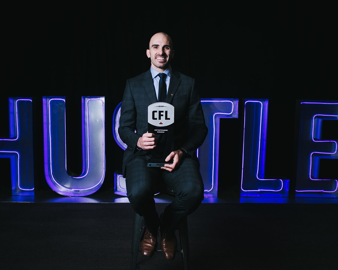Most Outstanding Canadian Brad Sinopoli at the 2018 Shaw CFL Awards. Photo credit: Johany Jutras/CFL.ca