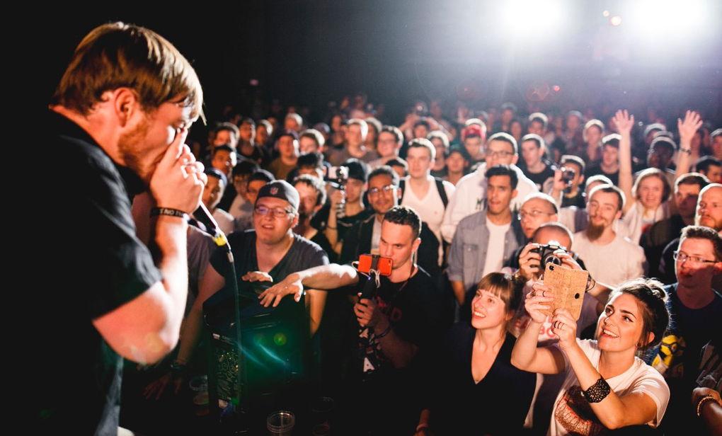 In der Buchhandlung am Marienplatz treten die weltbesten Beatboxer gegeneinander an. Copyright: Maciek Barski