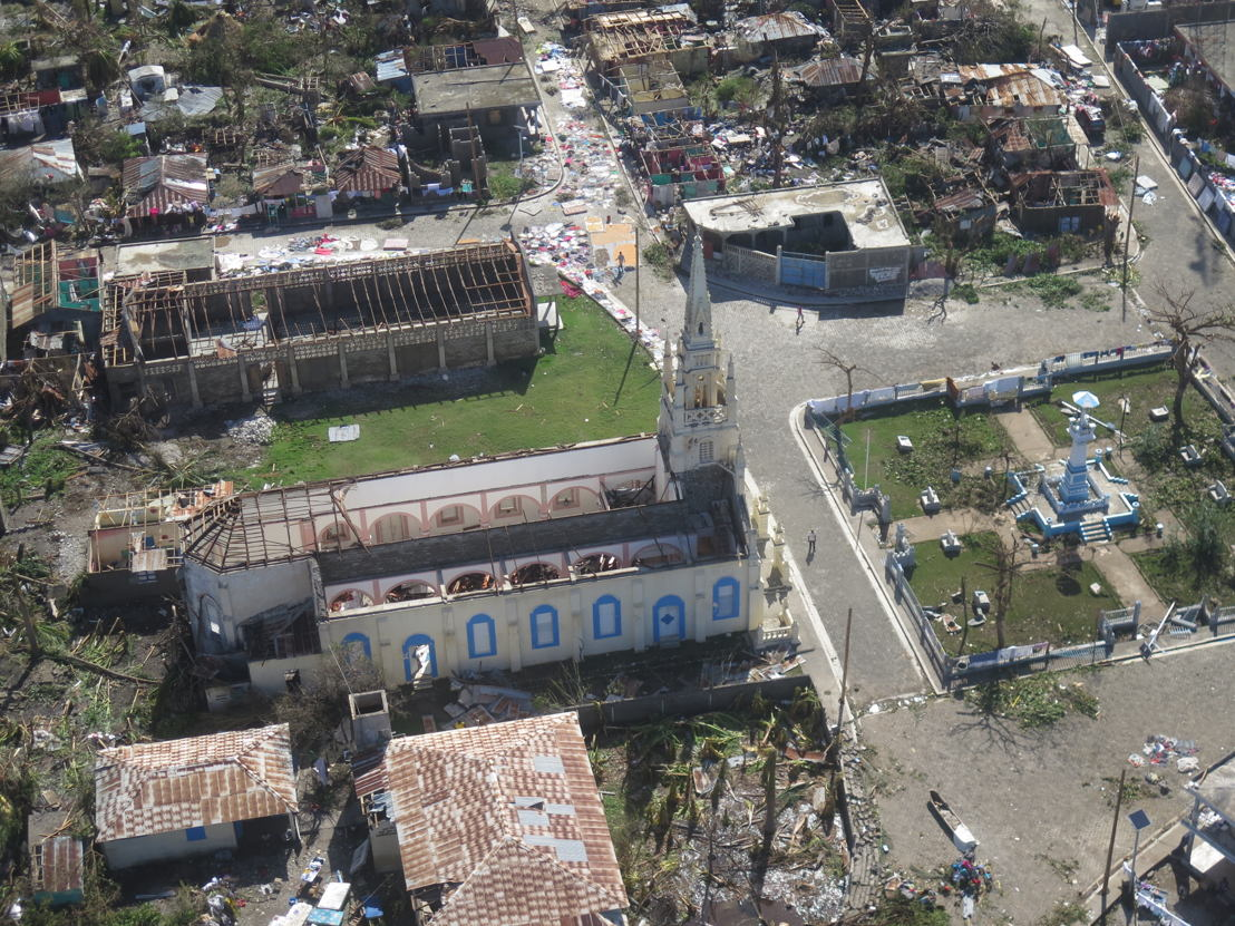 Aerial view of Les Anglais and the devastation caused by Hurricane Matthew. The eye of the hurricane made landfall near Les Anglais, Sud Department of Haiti, on 4 October 2016. Photographer: MSF