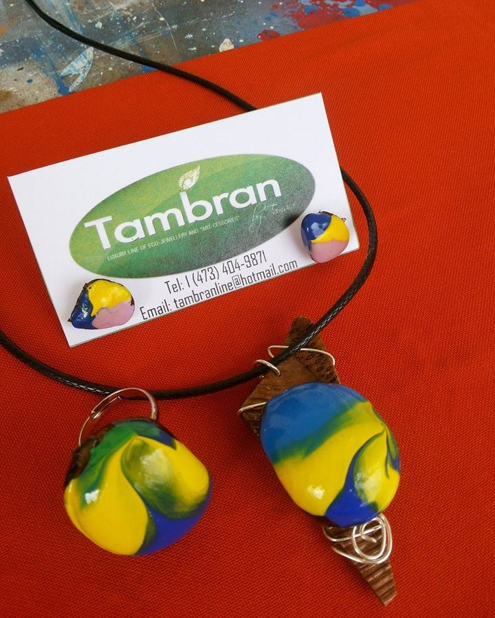 Tambran by Tamara necklace, ring and earring set made from seeds and recycled materials.