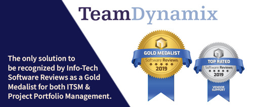 TeamDynamix Recognized by Info-Tech SoftwareReviews as a Gold Medalist for Both Project Portfolio Management and IT Service Management