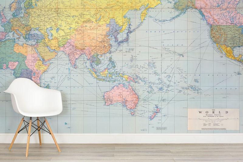 Vintage Pastel World Map