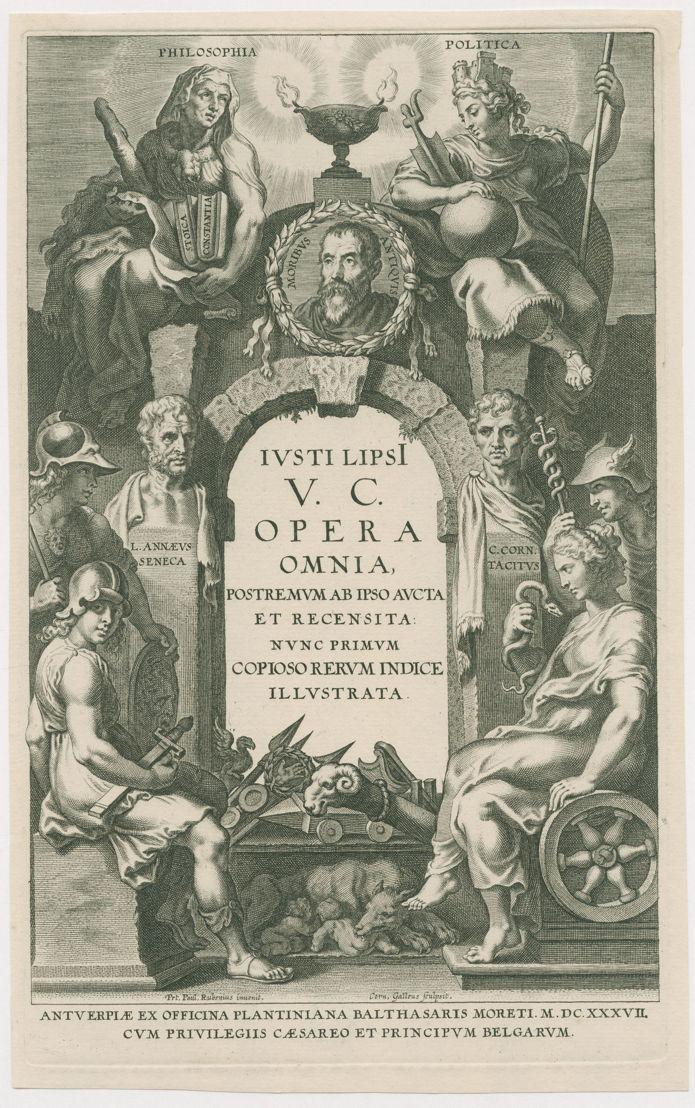 Expo Book Design, deel I van Iusti Lipsi V.C. Opera Omnia...Antverpiae, ex officina Plantiniana Balthasaris Moreti M.DC.XXXVII. <br/>Maker Galle, Cornelis (I) (graveur)<br/>Peter Paul Rubens<br/>Moretus, Balthasar (I) (uitgever)
