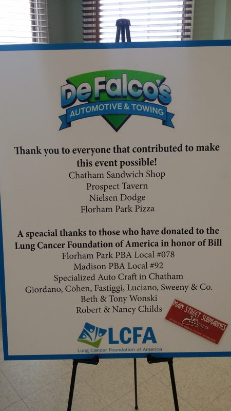 A sign thanking donors to the event.
