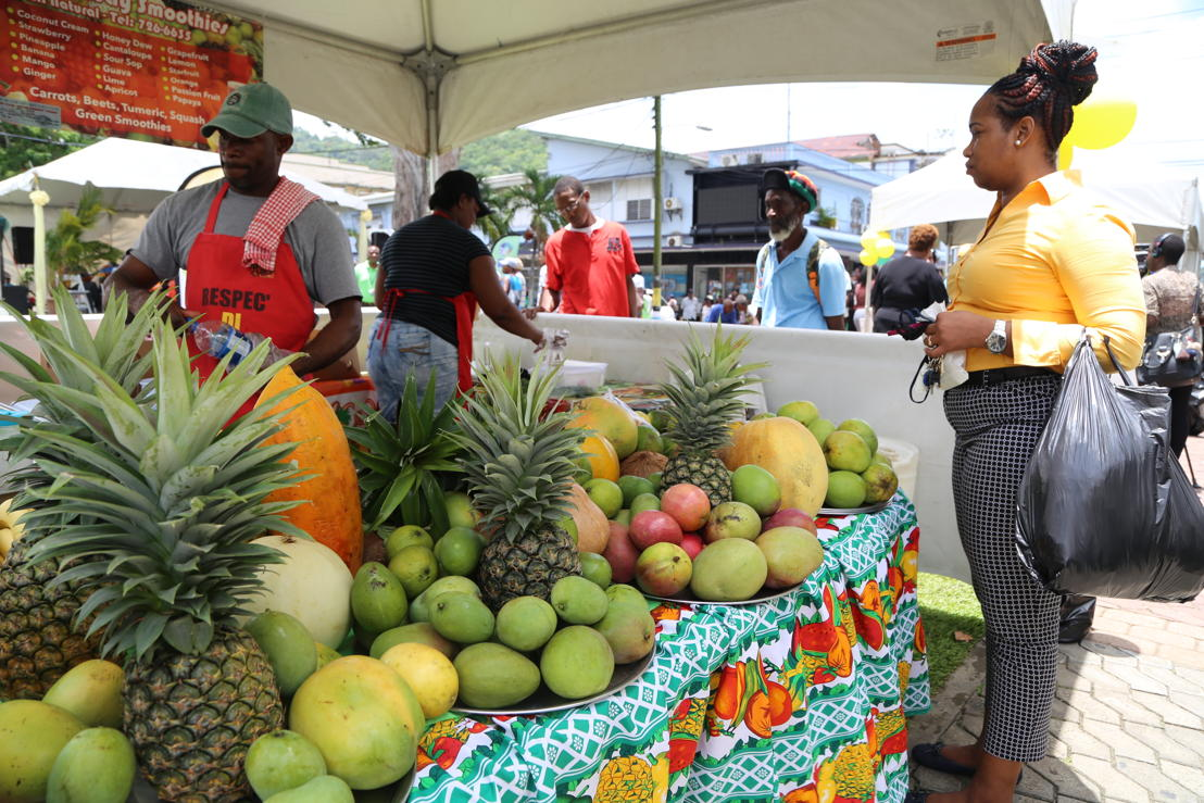 Saint Lucia Mango Festival - stand of fresh fruit juices