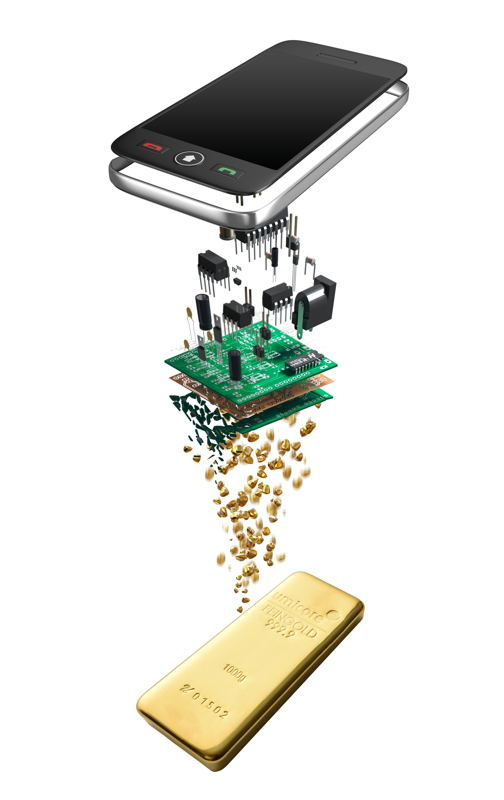 Riciclo di telefoni cellulari, © Umicore, 2017