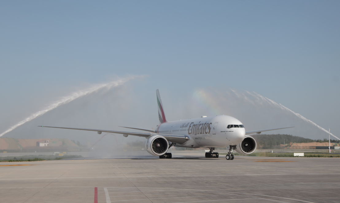 After arrival in Zhengzhou, the Boeing 777-200LR was met with a water cannon salute