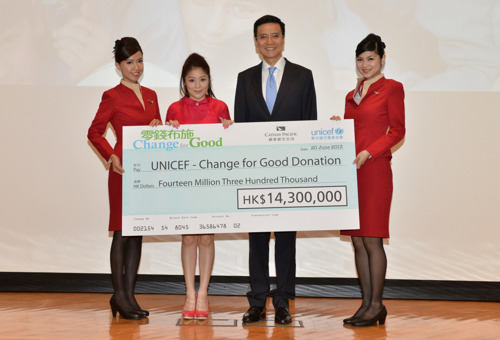Cathay Pacific/UNICEF 'Change For Good' raises HK$14.3 million in 2012 to help underprivileged children worldwide