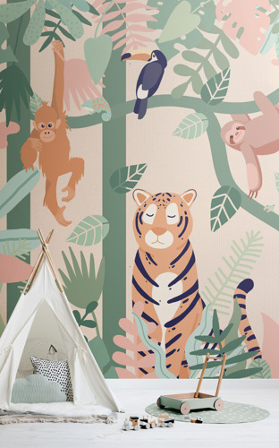 Explore the possibilities of kids' interior design with this immersive jungle mural