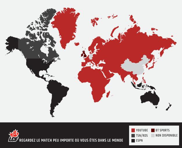Cette carte montre où regarder le match selon où vous vous trouvez dans le monde.