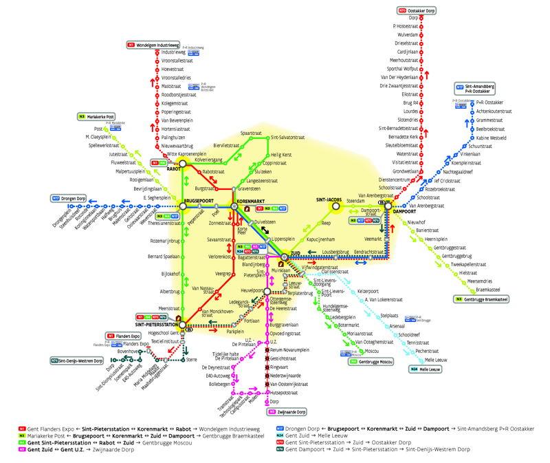Netplan van het nieuwe nachtnet van De Lijn in Gent. Het net gaat van start op 17 oktober 2014.