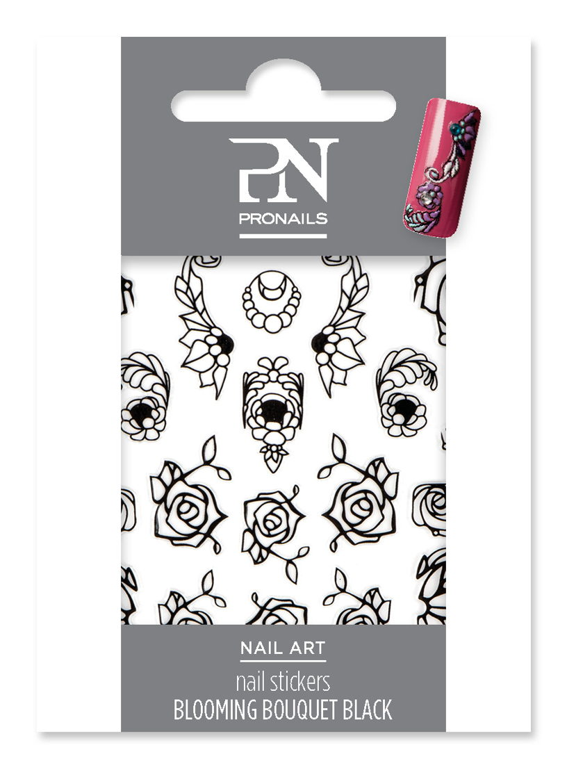 Nail Stickers Blooming Bouquet Black
