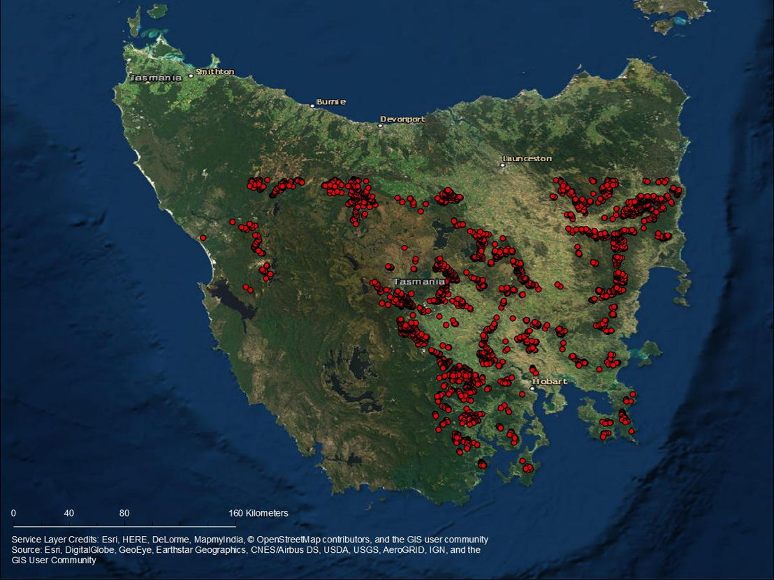 Potential STORES sites in Tasmania.