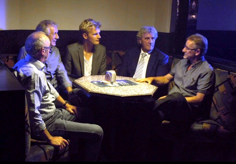 De kleedkamer - SK Beveren 1979 : Jean Janssens, Freddy Buyl, Ruben Van Gucht, Jean-Marie Pfaff, Heinz Schönberger - (c) Deklat Binnen