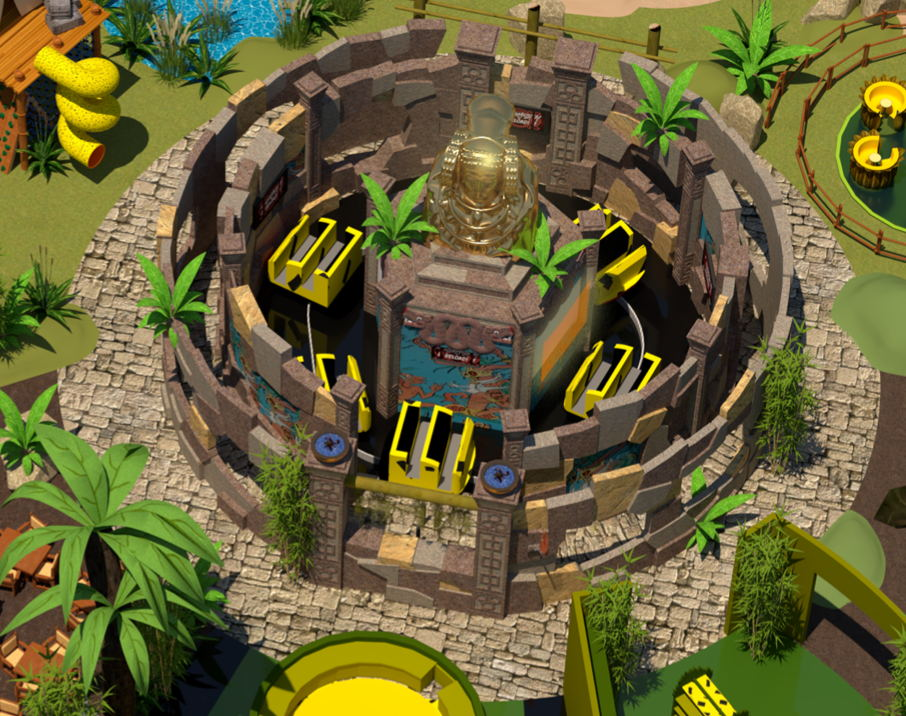 Smash & Reload attraction themed as temple ruin at Houba World