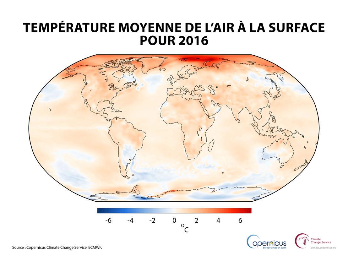 Température moyenne de l'air à la surface pour 2016