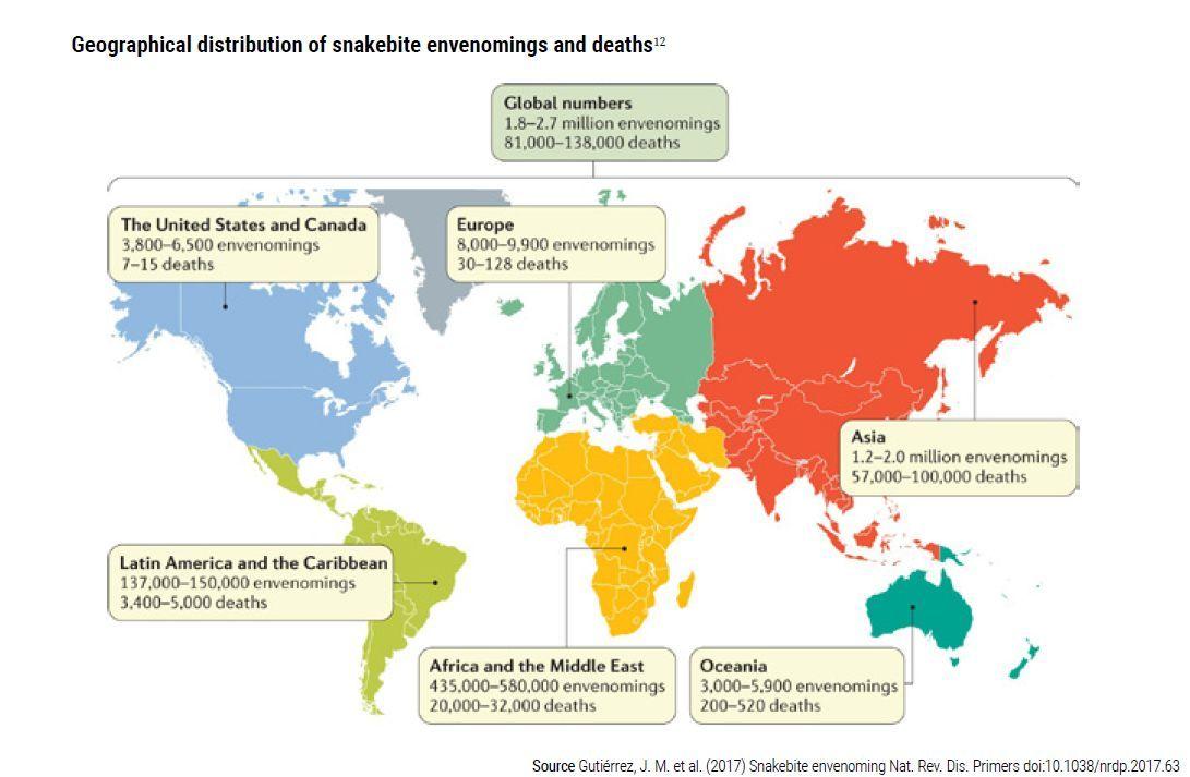 Distribución geográfica de envenenamientos y muertes por mordeduras de serpiente.
