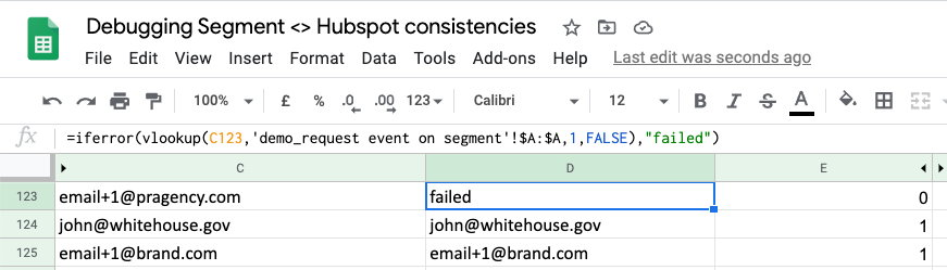 See lookup. Failed is data not in segment but Hubspot only