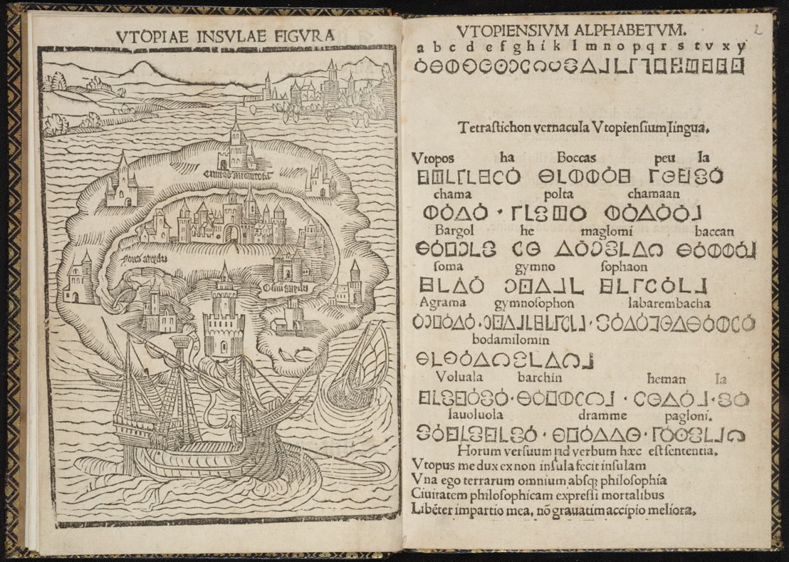 'In Search of Utopia' © ©  Thomas Morus, Libellus de… insula Utopia, 1518. University Library – Tabularium, Leuven.