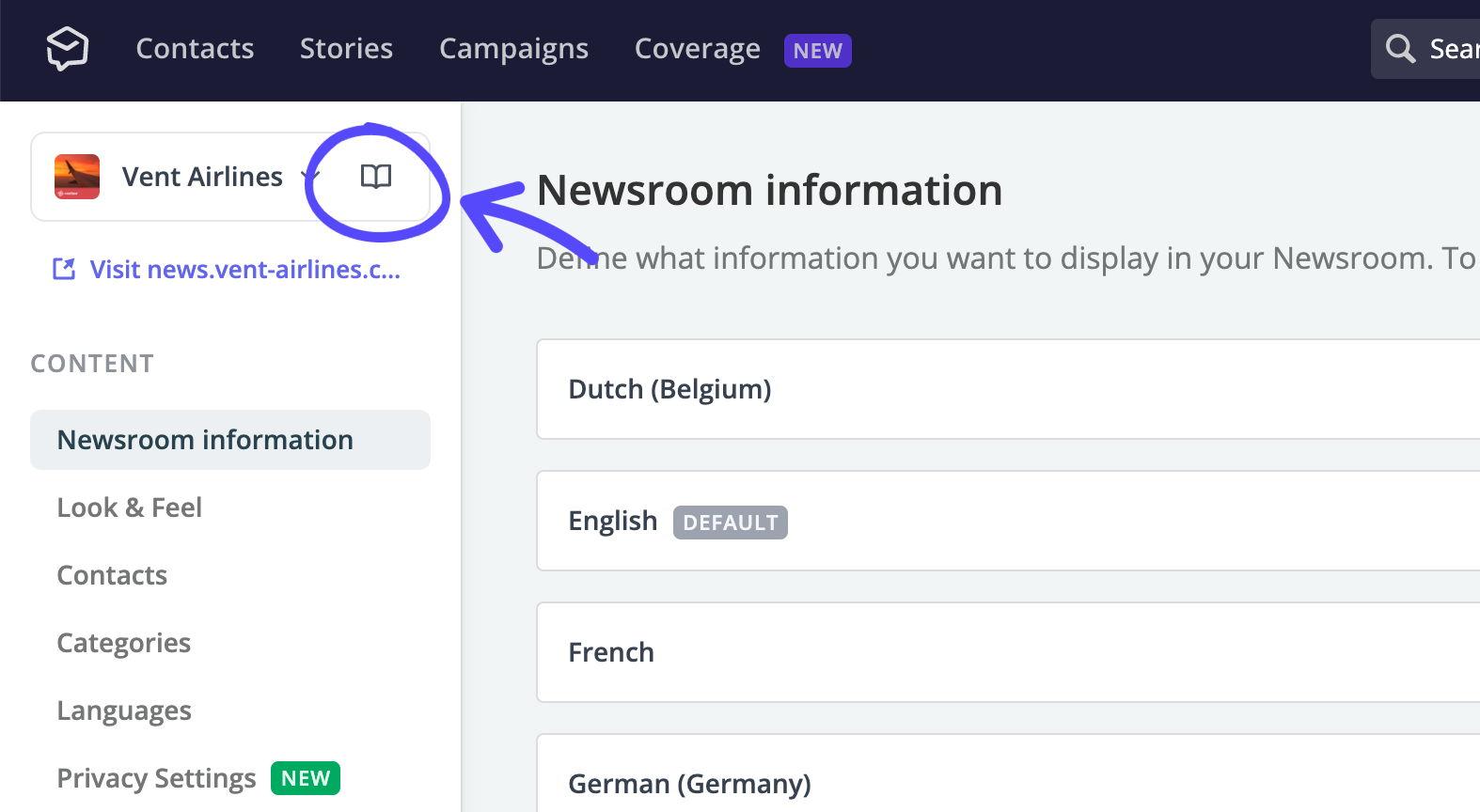 From Newsroom settings