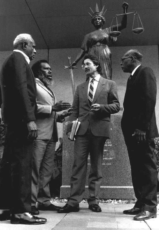 Mabo Plaintiffs with their lawyer Bryan Keon-Cohen Supreme Court QLD 1989. Credit Trevor Graham