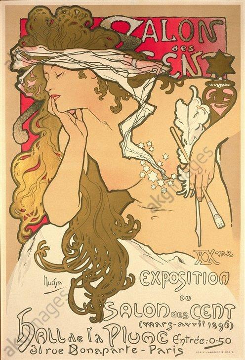 """""""Salon des Cent"""". Poster for the exhbition """"Exposition du Salon des Cent, March-April 1896, Paris<br/>AKG1006702"""