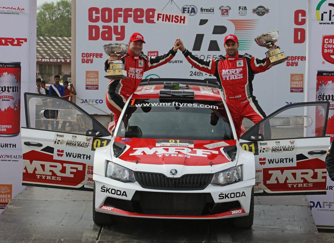APRC Rally of India: Gill wins and defends title Double victory for MRF ŠKODA with Veiby second