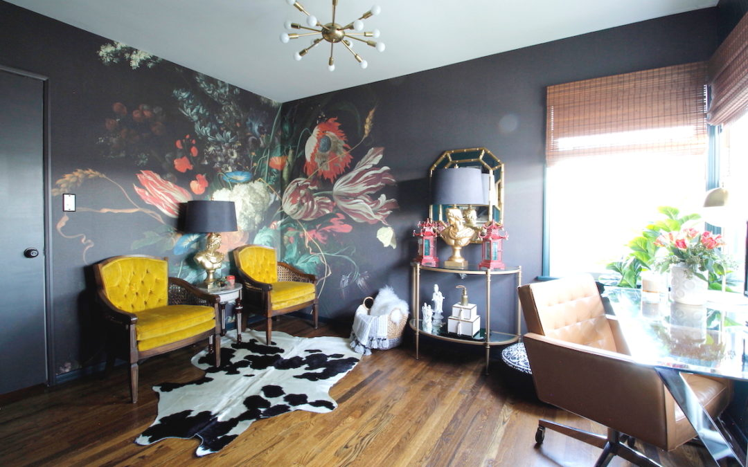 Marilynn Taylor's use of Vase of Flowers mural in her One Room Challenge office space