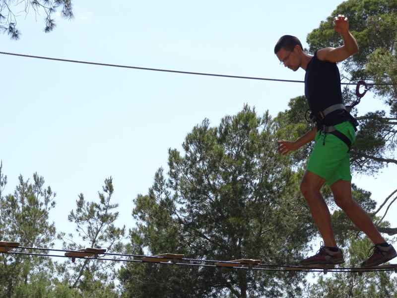 ...balancing at a height of more than 5 meters...