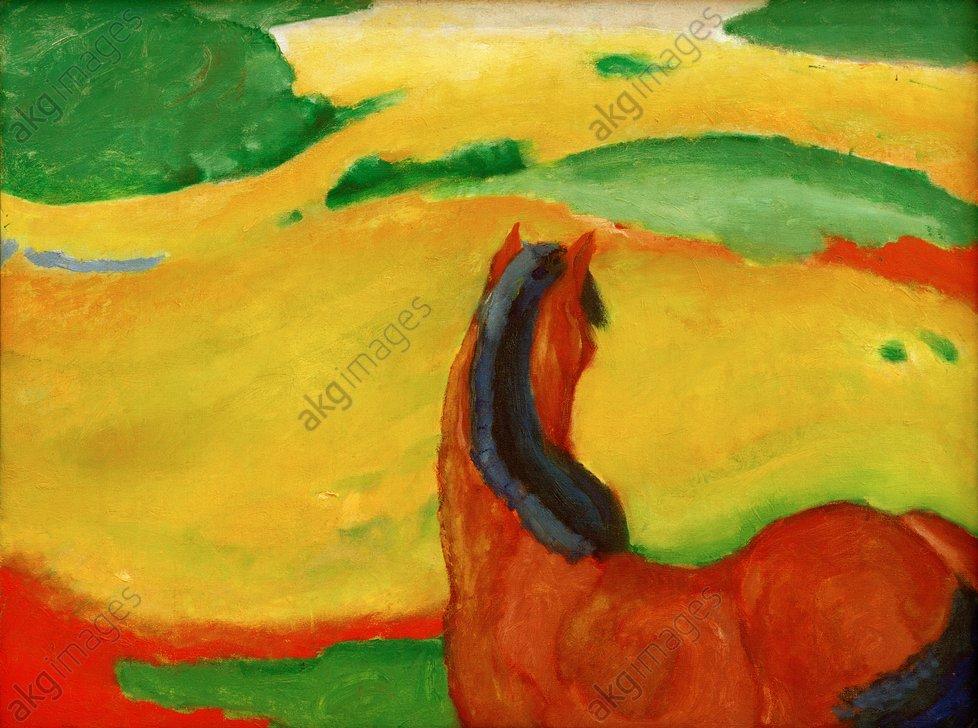 "Marc, Franz, ""Horse in a landscape"", 1910.<br/>Oil on canvas, 85 × 112 cm. Essen, Museum Folkwang.<br/>AKG277620"