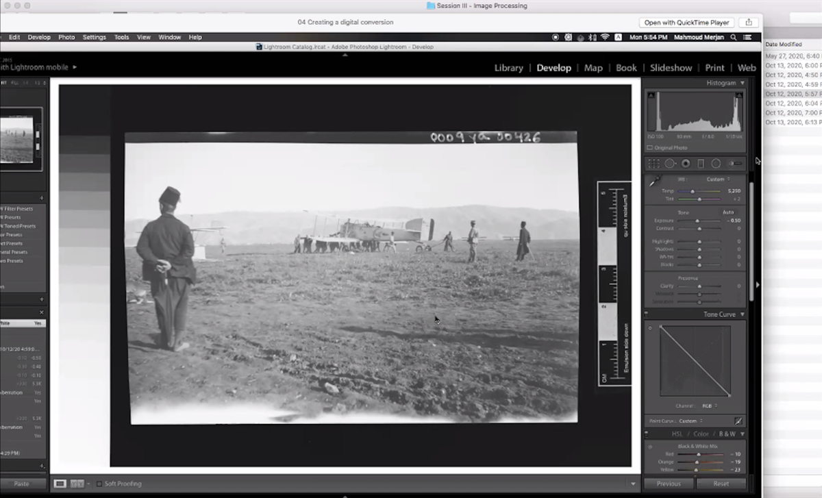 Screenshot from the Image Processing training given by our Digitization & Documentation Coordinator Mahmoud Merjan