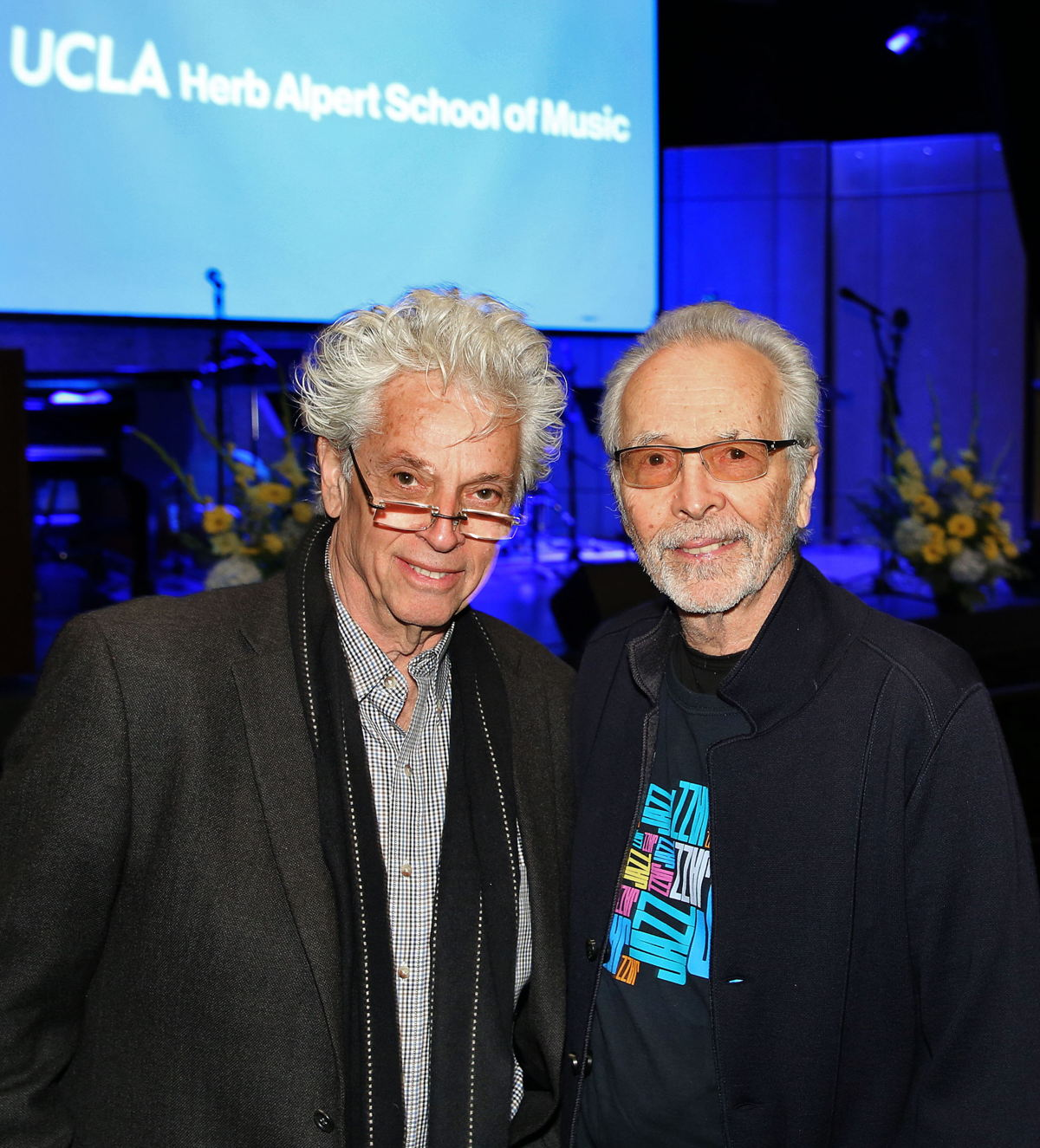 Pictured right, musician, label exec and co-founder of the Herb Alpert Foundation, Herb Alpert welcomed architect/acoustician and co-founding partner of WSDG, John Storyk to the opening of the new Lani Hall on the UCLA campus