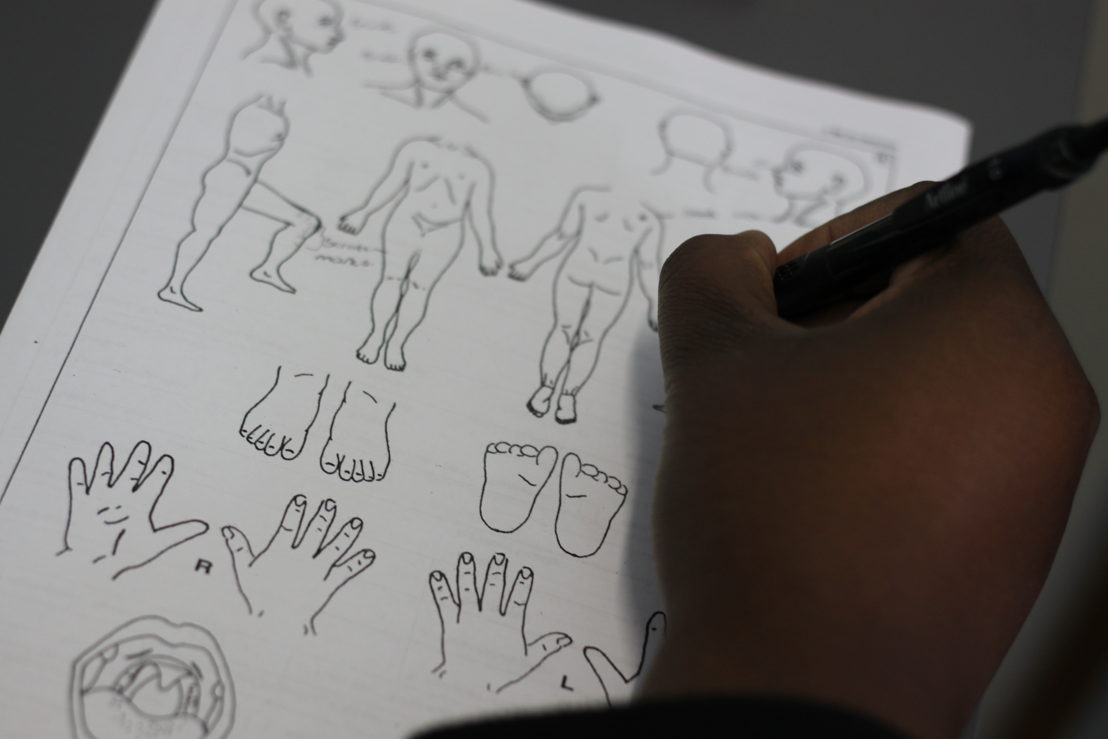 A nurse uses diagrams of the human body as a forensic tool with children who may have been abused in Rustenburg, a large mining town in the so-called Platinum Belt of South Africa. A recent MSF survey showed that 1 in 4 women living in Rustenburg Municipality have experienced rape in their lifetime, but 95% have never told a health professional about it. At the same time fewer than 50% know about getting medical treatment after being raped. Photographer: Garret Barnwell