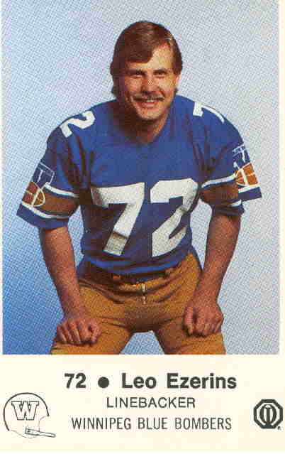 Leo Ezerins as a member of the Winnipeg Blue Bombers